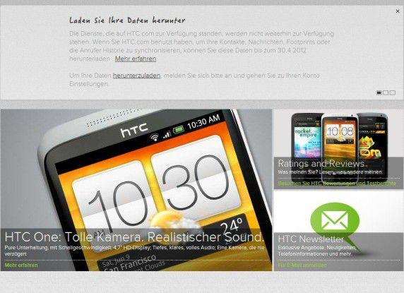 HTCsense.com: Laden Sie Ihre Daten herunter!