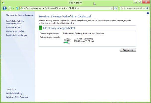 Daten-Backup: File History sichert regelmäßige Versionen der einzelnen Daten - ähnlich wie die TimeMachine von Apple.