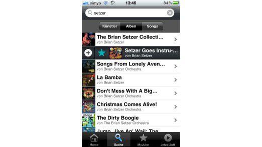 Downloads lassen sich in der gut gemachten App durch Wischgeste starten. Ein Tipp auf den Stern fügt das Album der eigenen Bibliothek hinzu.