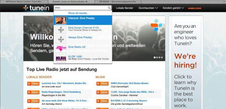 Was läuft gerade irgendwo im Radio? Kein Problem für Tunein.com!