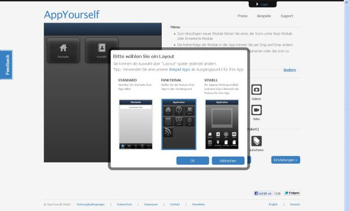 App-Baukästen wie AppYourself bieten verschiedene Layouts und Module, um eine eigene App zusammen zu stellen.