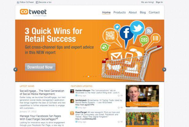 Wo ist Cotweet hin? Der Übernahmekonzern Exacttarget verwirrt die Besucher mit viel Marketing-Blabla, aber wenig klaren Infos.