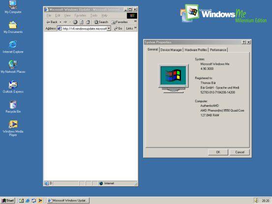 """Ein """"ganz altes"""" Windows-Betriebssystem (Windows ME): Für solche Systeme bietet Microsoft schon lang keine Updates mehr an. Wer auf """"Windows Update"""" klickt, landet im Internet Explorer in einer Endlosschleife."""
