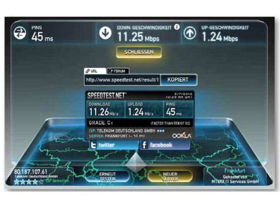 In München erreichten wir Transferraten von bis zu 25 Mbit/s.