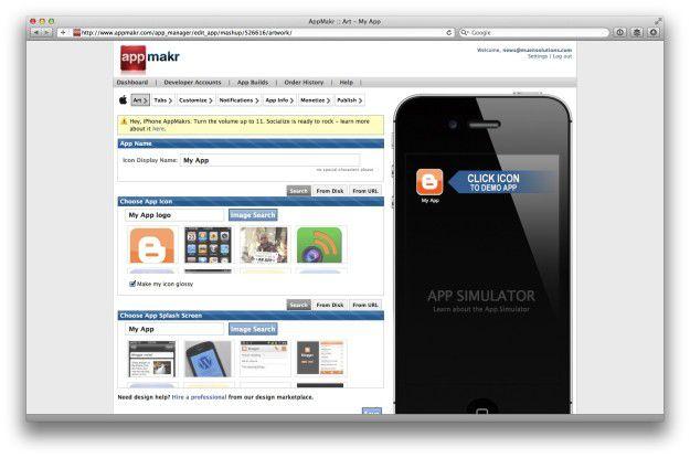 Baukasten für Apps - AppMakr.