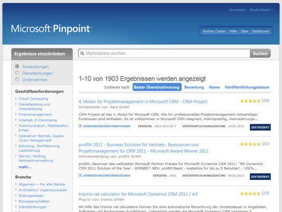 """Der Business Marketplace heißt bei Microsoft """"Pinpoint"""". Dahinter verbirgt sich ein Verzeichnis von Partnern, Anwendungen und Dienstleistungen."""