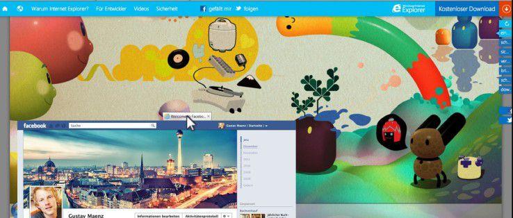 Der Auftritt des Internet Explorer arbeitet mit stark interaktiven Elementen.