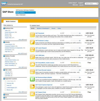 Der SAP-Store erlaubt Bewertungen und Kritik.