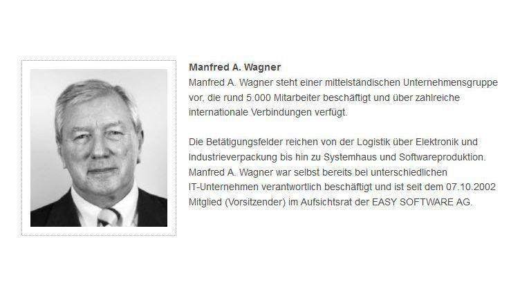 Manfred Wagner ist Mitglied des Ausichtsrats bei Easy Software (hier auf einem Screenshot der Firma zu sehen).