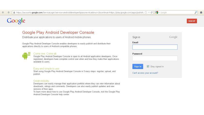 Abgesichert: Die Identität eines App-Entwicklers kann bei Google Play über die Zugangsdaten für das Google-Konto geprüft werden.