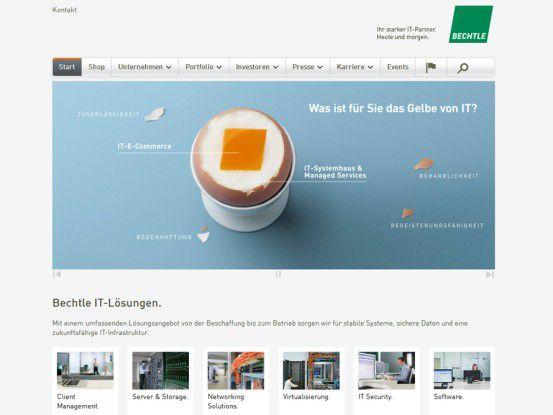 Webseite des IT-Systemhauses Bechtle aus Neckarsulm.