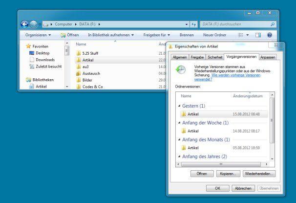 Die Vorgängerversionen von Windows sind ein Mittel für die Dateiwiederherstellung.