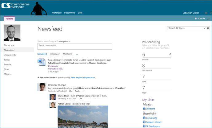 Newsfeed der MySite mit Web 2.0-Funktionalität