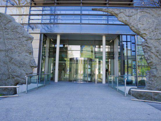 Ein eigenes Gesicht hat der Eingang der Münchner MPG-Zentralverwaltung