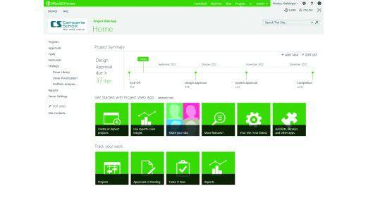 Auf einen Blick: Project Server mit Project Site.
