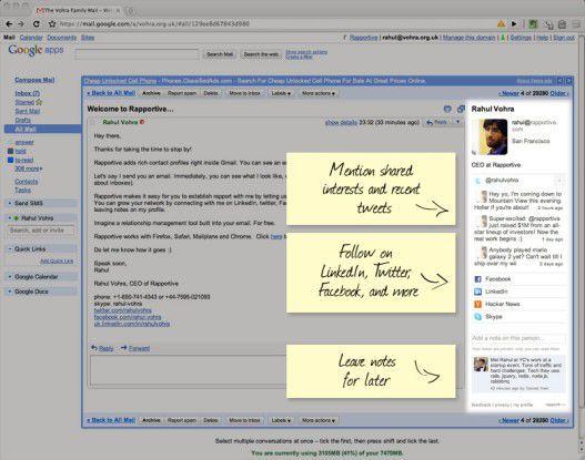 Rapportive durchstöbert das Web nach Daten des Mail-Versenders.