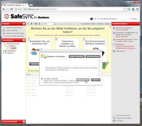 SafeSync bietet spezielle Clients an, die es wie hier auf dem Windows-System einfach machen, die Dateien auch automatisch entsprechend zu synchronisieren und sicher auf dem Cloud-Speicher abzulegen.