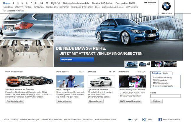 Kleiner Text, grau auf weiß: Wer bei BMW Hauptmenü und Texte lesen kann, braucht keine Brille.