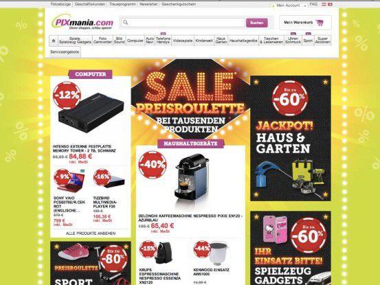 """""""Vorsicht vor zu viel Werbung"""" gilt auch für Eigenwerbung wie Hinweise auf Sonderangebote in Online-Shops (hier auf der Startseite von www.pixmania.com)."""