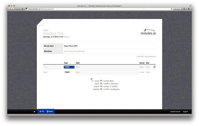 Meetings im Browser protokollieren - mit Minutes.io.