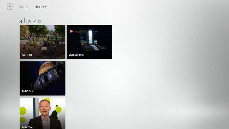Video: Die Übersicht aller Videos auf dem System.