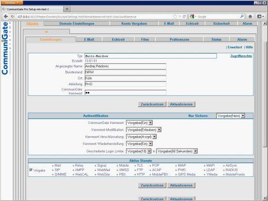 Die Admin-GUI von CommuniGate Pro ist schlicht, jedoch auch angestaubt.