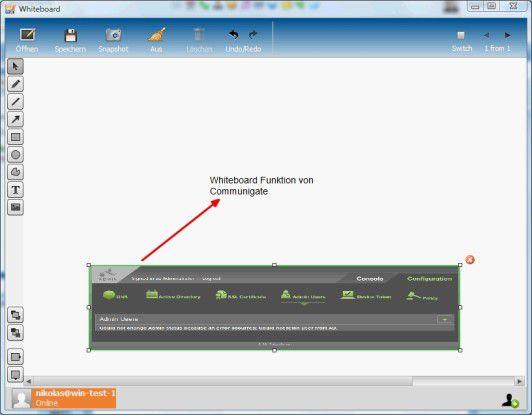 CG Pro enthält auch ein virtuelles Whiteboard auf welches alle Konferenzteilnehmer simultan Zugriff haben.