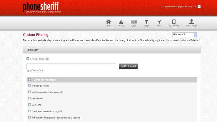 Zugriffe auf soziale Netzwerke wie Facebook lassen sich mit PhoneSheriff kontrollieren.