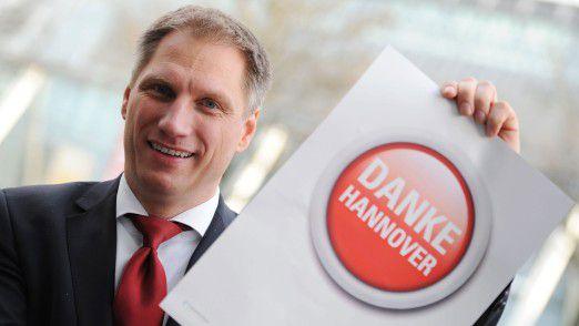 """CeBIT-Chef Frank Pörschmann rührte in Vegas die Werbetrommel für """"sein"""" Event."""