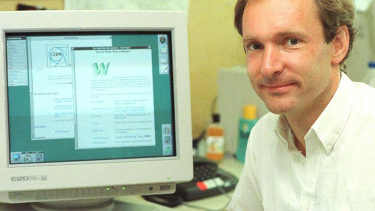 Tim Berners-Lee vor 25 Jahren am Cern