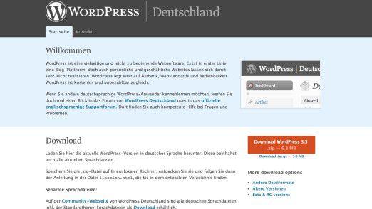 Wordpress kann auch heruntergeladen und auf dem eigenen Firmenserver installiert werden.