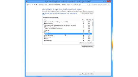 In den Einstellungen der Firewall unter Windows 8 kann man festlegen, welche der Apps eine Internet-Verbindung aufbauen dürfen.