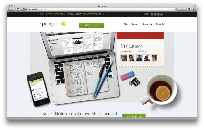 Texte, Bilder sowie Audio- und Videoinhalte bündeln und gemeinsam bearbeiten - darauf versteht sich Springpad.