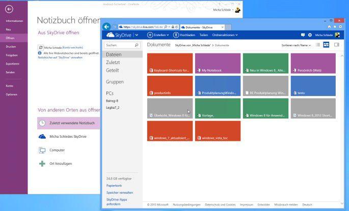 OneNote ist in der Version 2013 sehr eng mit dem Online-Speicher Skydrive verbunden, was die Verwaltung der Wissensdatenbank deutlich erleichtert.