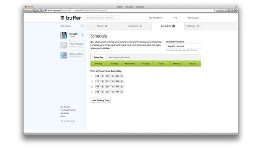"""Mit dem Online-Tool """"Buffer"""" können Twitter-Nutzer die Veröffentlichung ihrer Kurznachrichten vorplanen und zeitlich steuern."""