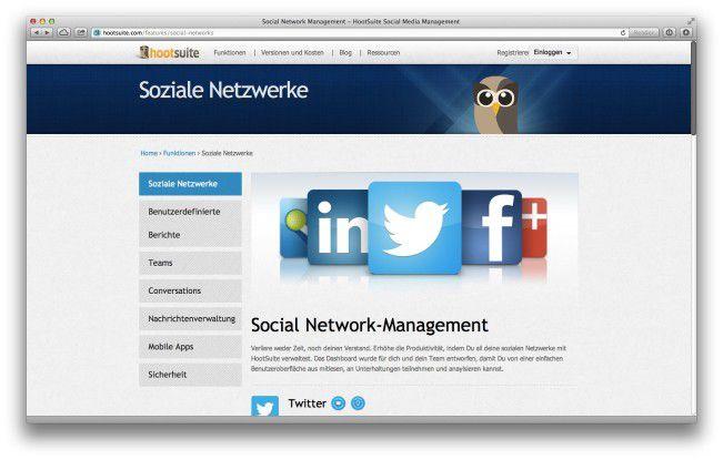 """""""Hootsuite"""" verwaltet ihre Firmenpräsenz auf den verschiedenen Sozialen Netzwerken."""