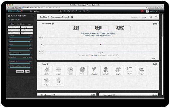 Socialbro bietet umfassende Analytics-Werkzeuge, mit denen man seine Twitter-Accounts professionell managen und analysieren kann – und das mit wenig Aufwand.
