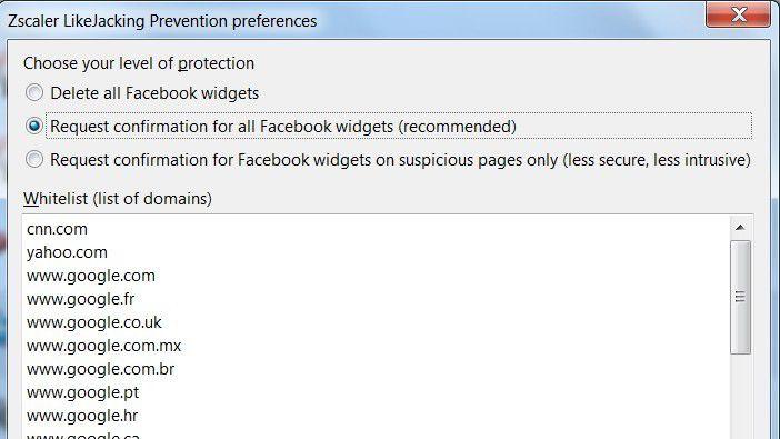 Zscaler prüft die Like-Buttons von Facebook.
