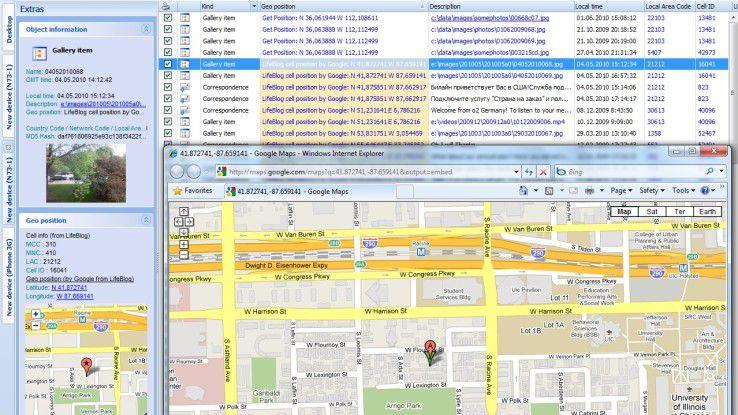 Aus den Metadaten von Smartphone-Fotos lassen sich häufig Standortdaten entnehmen und die GPS-Positionen der Fotos auf digitalen Karten visualisieren, wie hier mit der Oxygen Forensic Suite.