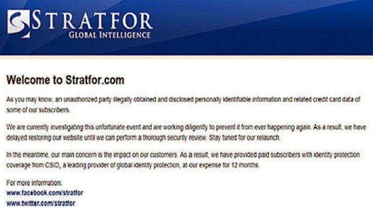 Ein weiterer Hack: Ebenfalls Anfang des Jahres veröffentlichen Hacktivisten mehr als fünf Millionen E-Mails des US-Sicherheitsberaters Stratfor auf der Enthüllungsplattform Wikileaks.