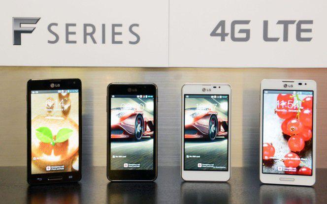 Die F-Serie von LG mit dem Optimus F5 (zweites von links).