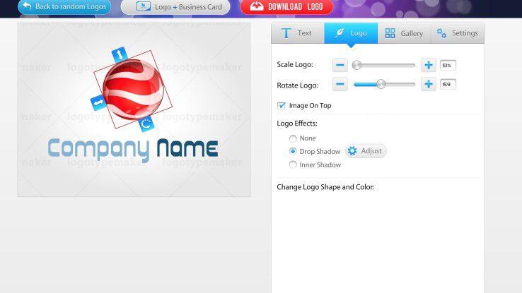 Der Logoeditor ist sehr einfach zu bedienen.