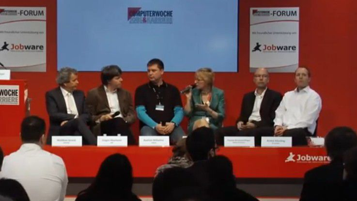 Matthias Grund (Andrena, v.l.), Jürgen Heymann (SAP), Bastian Wilhelms (Sipgate), Alexandra Mesmer (COMPUTERWOCHE), Thomas Braunstorfinger (Rohde&Schwarz), André Häusling (Scrumjobs).