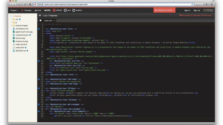Codio bietet eine integrierte Entwicklungsumgebung in der Cloud für HTML5-Projekte.