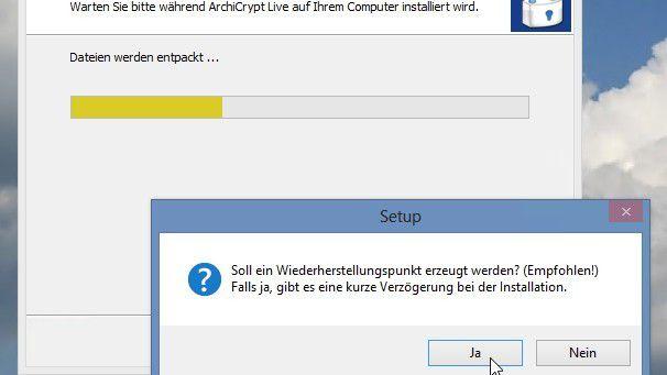 ArchiCrypt Live kann bei der Installation direkt einen Wiederherstellungspunkt unter Windows erstellen.