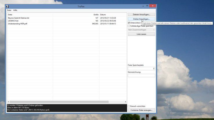 TruPax ermöglicht es, sowohl einzelne Dateien als auch gesamte Ordner mitsamt Unterordner hinzuzufügen.