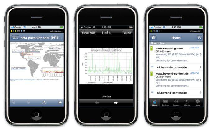 Beliebtes Szenario: Apps wie iPRTG von Paessler erlauben den Fernzugriff auf die Netzwerk-Monitoring-Konsole.