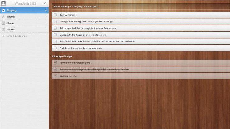 Wunderlist bietet eine erfrischende GUI.
