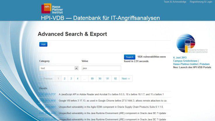 """Die """"HPI-VDB"""" bietet umfangreiche Informationen zu Software-Schwachstellen."""