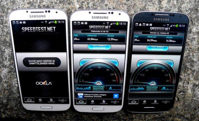 Drei Netze, drei Ergebnisse: Das Galaxy S4 mit Telekom-SIM kam am Münchner Marienplatz auf gut 62 Mbit/s im Download.